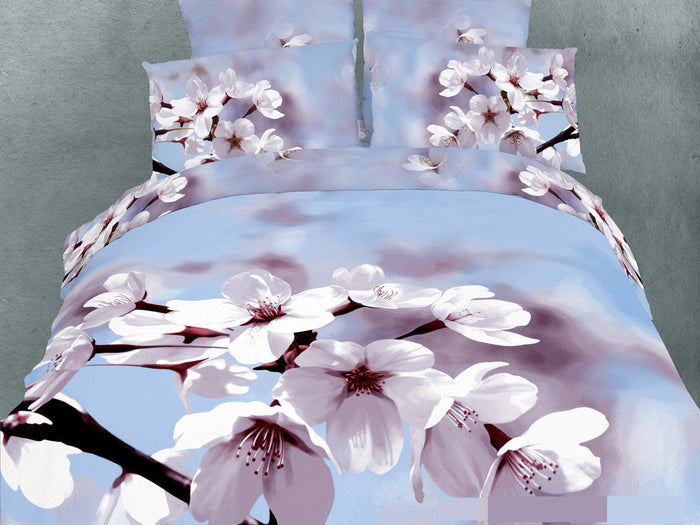 Blue Floral Bedding Spring Tree Blossom Duvet Cover Set King Designer Ensemble