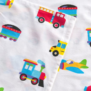 Trucks Trains Airplanes Sheet Set Cotton - Detail
