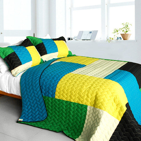 Geometric Blue Green Yellow Patchwork Teen Boy Bedding Full/Queen Quilt Set Modern Bedspread