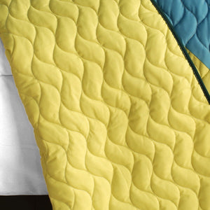 Green Blue Yellow Geometric Teen Boy Bedding Full/Queen Quilt Set - Back