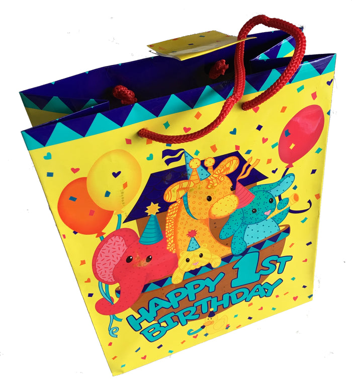 Happy 1st Birthday Ark Medium Yellow Party Gift Bag with Tag