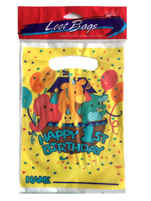 Happy Baby's 1st Birthday Noah's Ark Party Loot Gift Bags 8 CT