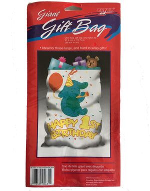 "Happy 1st Birthday Party Noah's Ark Bunny Giant Plastic Gift Bag with Tag & Tie 36"" x 44"""