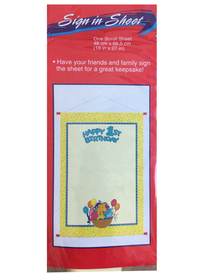 "Noah's Ark Animals Baby's Happy 1st Birthday Party Sign-In Keepsake Sheet 19"" x 27"" Scroll"
