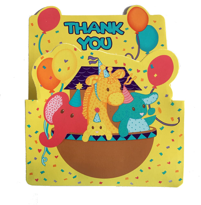 Happy Baby's 1st Birthday Party Noah's Ark Animals Yellow Thank You Cards 8 CT