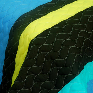 Ocean Blue White Black & Yellow Striped Bedding Full/Queen Quilt Set - Detail