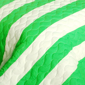 Green Soccer Theme Striped Bedding Girl or Boy Full/Queen Quilt Set - Detail