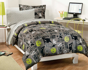 Black Gray Skateboard Bedding Teen Boy Twin or Full Comforter Set Bed in a Bag Green Skulls