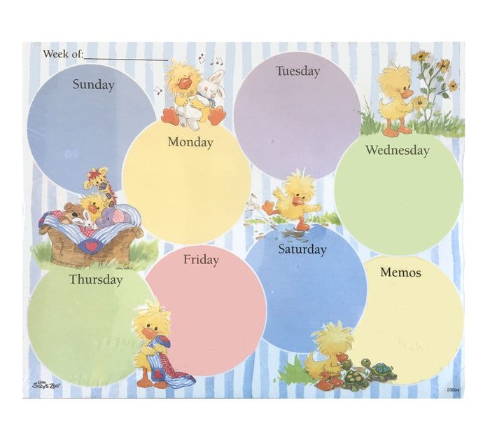 "Little Suzy's Zoo Weekly Magnetic Planner Memo Note Pad 10"" x 8"" - Duck, Bear, Bunny, Giraffe, Turtles"