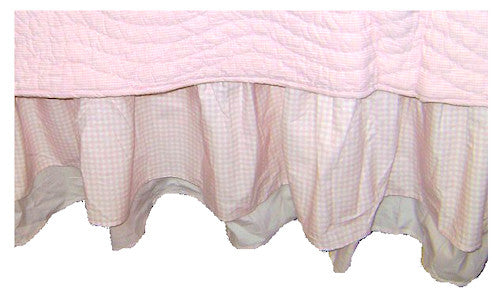 Pink Ruffled Queen Bed Skirt Double-Layered Gingham & Stripe Print Cotton