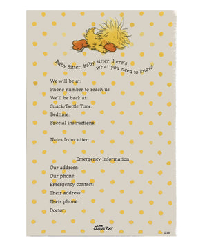 "Little Suzy's Zoo Witzy Duck Sleeping Babysitter's Message Taker Memo Note Pad 4.5"" x 6 5/8"""