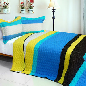 Ocean Blue White Black & Yellow Striped Bedding Full/Queen Quilt Set Modern Bedspread
