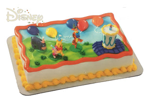 Winnie The Pooh Birthday Party Hats Cake Topper Deco Set Plastic Character Figurines 4-Piece Kit - Pooh, Piglet, Tigger, Eeyore & Cake