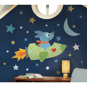Rocket Dog Wall Mural Flying Space Puppy Peel & Stick Decals Large 48""