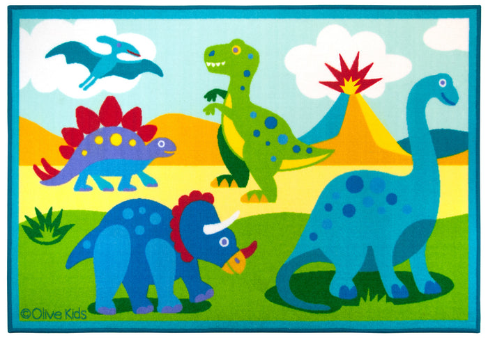 "Blue & Green Dinosaurs Kids Rug 39"" x 58"" or 5 ft x 7 ft Area Rug"