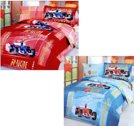 Race Car Formula 1 Boys Bedding Twin Duvet Cover Set Red or Blue