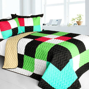 Green Black White Turquoise & Hot Pink Geometric Teen Bedding Full/Queen Quilt Set Modern Bedspread
