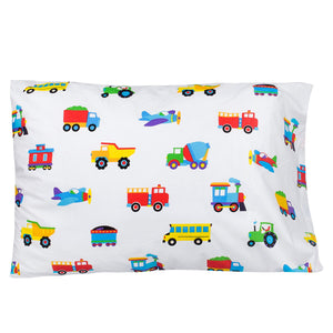 "Trains Planes Trucks Cotton Kids Pillowcase 20"" x 30"""