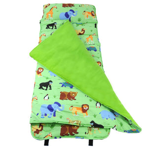 Jungle Safari Animals Kids Green Nap Mat - Child/Toddler Boy or Girl Sleeping Bag