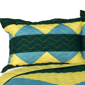 Green Blue Yellow Geometric Teen Boy Bedding Full/Queen Quilt Set - Pillow Sham