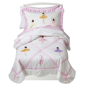 Pink Ballerina Toddler Girl Comforter Bedding 5pc Bed in a Bag Set
