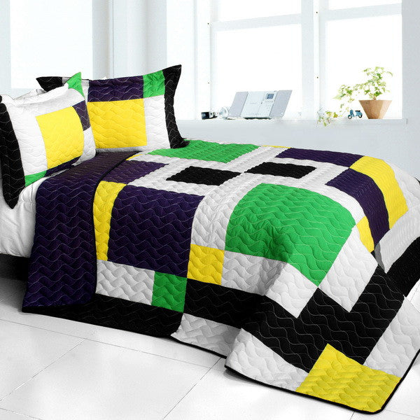 Black White Green Yellow Geometric Square Teen Bedding Full/Queen Quilt Set Patchwork Bedspread