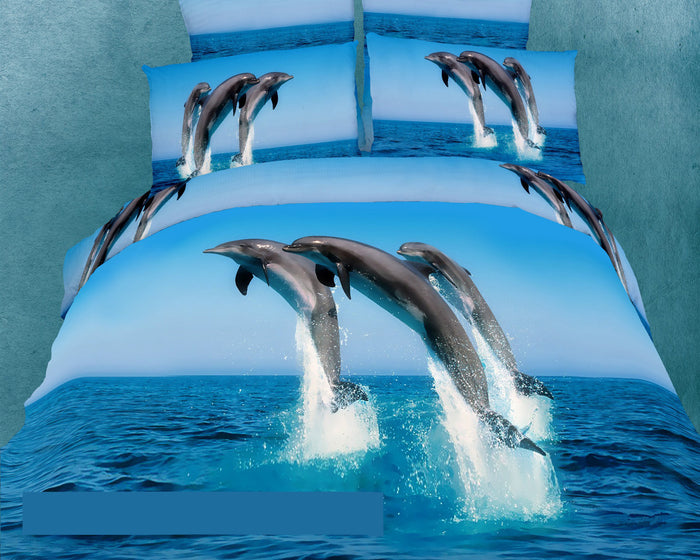 Blue Ocean Dolphin Bedding King Size Marine Duvet Cover Set Designer Ensemble