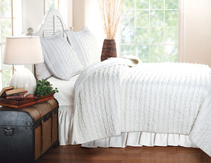 Shabby Chic White Ruffled Girls Bedding Twin Full/Queen King Bedspread Quilt Set