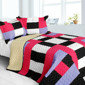 Hot Pink Lavender Black White & Tan Checkered Teen Girl Bedding Full/Queen Quilt Set Geometric Bedspread