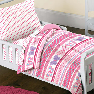 Pink Butterfly Dots Toddler Girl Bedding Bed in a Bag Comforter Set