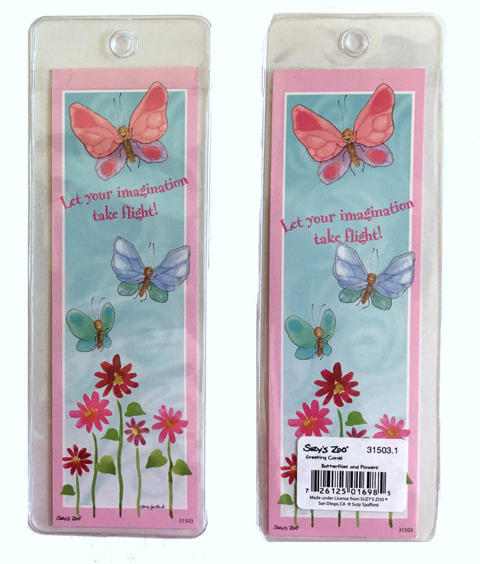 Suzy's Zoo Bookmark - Pink Floatie Butterflies & Flowers