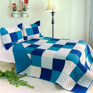 Modern White Blue Patchwork Teen Bedding Boy Girl Quilt Set Geometric Bedspread