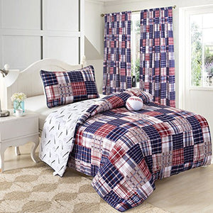 Red White Blue Baseball Bedding Twin or Full Patwork Plaid Comforter Set with Baseball Plush Pillow