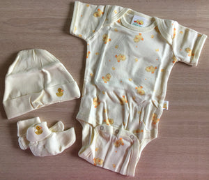Little Suzy's Zoo Yellow Witzy Duck Baby Starter Set Onesies-Hat-Booties Baby Shower Gift 0-3 Month / Newborn