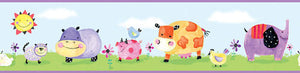 Polka Dot Farm & Jungle Animals Kids Wallpaper Border Piggy Cow Elephant