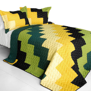 Black Green Yellow Patchwork Teen Boy Bedding Full/Queen Quilt Set Modern Geometric Bedspread
