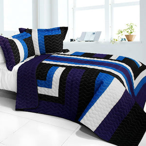 Black Blue White Geometric Teen Boy Bedding Full/Queen Quilt Set Elegant Striped Bedspread