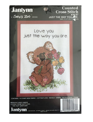 Suzy's Zoo Vintage Counted Cross Stitch Kit with Frame Koala Love You The Way You Are