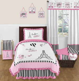 Paris Eiffel Tower Bedding for Girls Twin Full/Queen Comforter Set Pink Black White