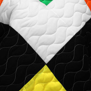 Black White Green Yellow Bedding Full/Queen Quilt Set Modern Patchwork Bedspread Teen Boy or Girl