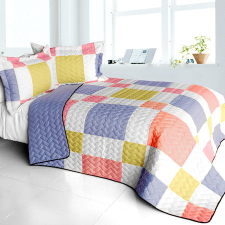 Pastel Pink & Blue Geometric Teen Girl Bedding Full/Queen Patchwork Quilt Set Modern Bedspread
