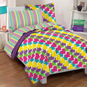 Rainbow Hearts Purple Yellow Girls Bedding Twin or Full Comforter Set Bed in a Bag