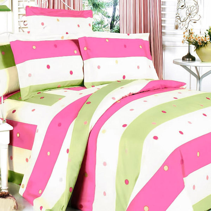 Pink Green Polka Dot Striped Teen Girl Bedding Twin Full Queen King Duvet Cover Set Quilt Bedspread