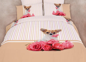 Chihuahua Dog Themed Girls Bedding Twin or Queen Duvet Cover Set Puppy Designer Ensemble