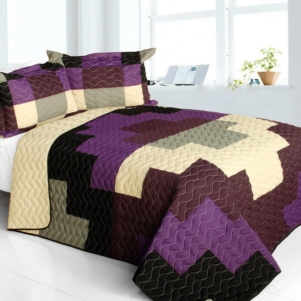 Purple Black & Tan Checkered Teen Bedding Full/Queen Quilt Set Geometric Modern Bedspread