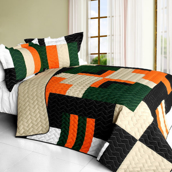 Black Tan Orange & Green Geometric Teen Bedding Full/Queen Quilt Set Patchwork Bedspread