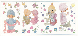 "Precious Moments Little Girls Wall Stickers Decals 10"" x 18"" 4 Sheets Peel & Stick"