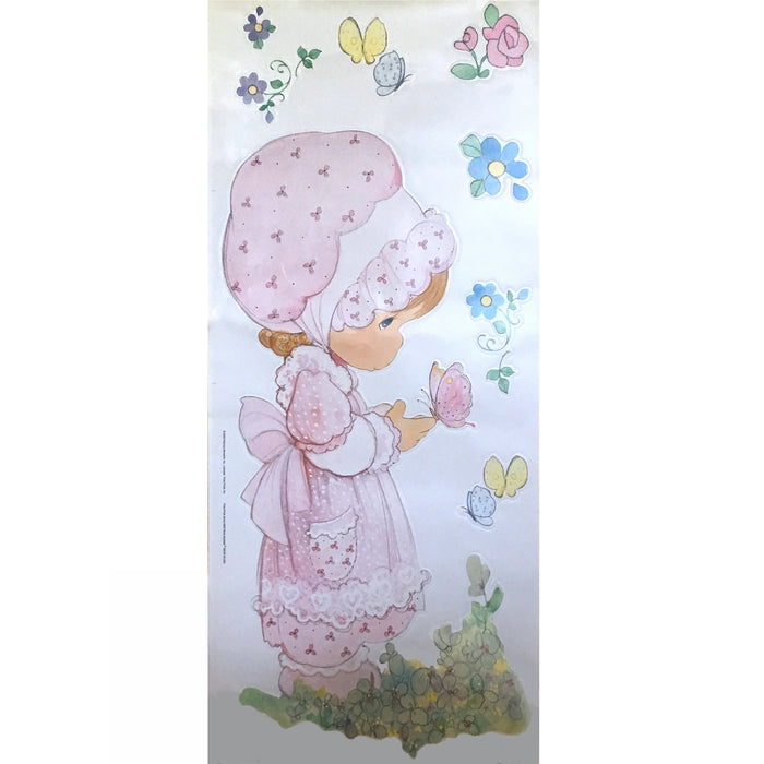 "Rare Precious Moments Girl & Butterfly Giant Wall Mural Decal 17"" x 40"" Peel & Stick 8 Stickers"