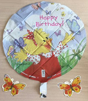 "Suzy's Zoo Suzy's Butterflies Happy Birthday 20"" Party Balloon with 2 Butterfly Flitters"