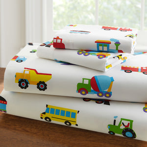 Trains Air Planes Fire Trucks Sheet Set